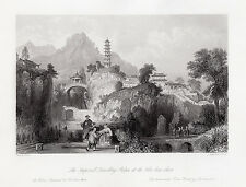 "Neat Thomas ALLOM 1800s Engraving ""Imperial Travelling Palace"" SIGNED Framed COA"