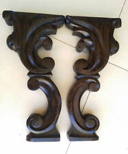 Antique Carved Wood Oak Baroque Style Pedestal Post Legs Pair for table or piano