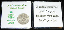 Lucky Sixpence Coin Keep Calm Good Luck Keepsake Gift  (Four Leaf Clover)