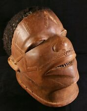 Antique African Makonde Lipico Helmet Mask - Human Hair Hand Carved Wood EXC