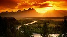 """BEAUTIFUL SUNSET FOREST MOUNTAIN VIEW Wall Art Large Canvas Picture 20""""x30"""""""