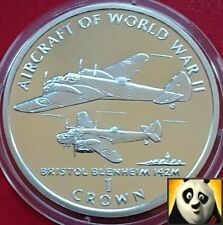 1995 ISLE OF MAN 1 One Crown BRISTOL BLEINHEIMN Aircraft WWII Silver Proof Coin