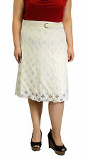 Plus Size Solid White Knee Length Skirt Church Wedding Lace Belt Conservative