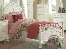 DREAMY ANTIQUE WHITE TWIN YOUTH GIRL'S BED BEDROOM FURNITURE