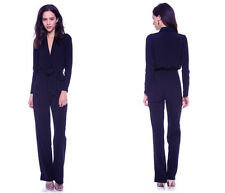 Brand New with Tags! SUIT Apparel Navy Long Sleeve V Neck Jumpsuit Size UK 10