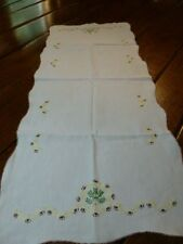 Vintage Hand Embroidered Cotton Table Runner - Dresser Scarf - Yellow Flowers 34