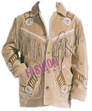 Fashion Runway Men Suede Leather Western Jacket-Coat with Fringes Sizes: XS - 6X