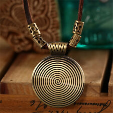 Fashion Rock Pendant Necklaces Vintage Faux Leather Long Chain Necklace