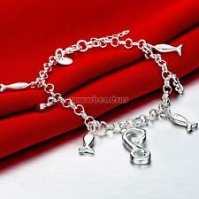 Women Jewelry Charm Chain Bangle 925 Real Silver Crystal Cuff Bracelet Cat and F