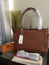 NWT Tory Burch  Serif T Large Pebbled Leather Tote Satchel In Bark Tan Brown