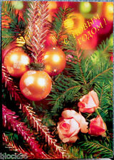 1991 Russian card HAPPY NEW YEAR!  CHRISTMAS DECORATIONS AND ROSES