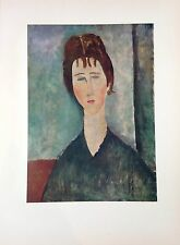"1953 Vintage Full Color Art Plate ""YOUNG GIRL WITH BROWN HAIR"" MODIGLIANI Litho"