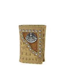 BEIGE SKULL CROCODILE LEATHERETTE LOOK TRIFOLD COUNTRY WESTERN WALLET