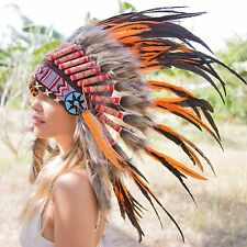 ORANGE INDIAN HEADDRESS Chief War bonnet Costume Native American Halloween