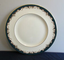 """PATTERN GROSVENOR BY MINTON CHINA  10 5/8"""" DINNER PLATE GREEN BAND W/GOLD FLORAL"""