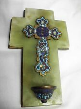antikes Email Weihwasserbecken auf Marmor/antique enamel holy water font+marble