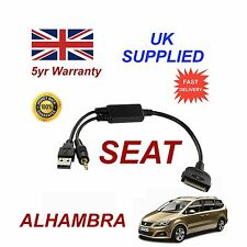 SEAT ALHAMBRA (6J0051700B) Audio iPhone 3GS 4 4S iPod USB & 3.5mm Aux Cable