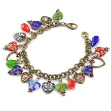 NEW SWEET ROMANCE MILLEFIORI CANDY GLASS RAINBOW CRYSTAL HEART CHARM BRACELET