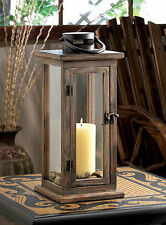 "Lodge Weathered Wood Candle Lantern Pillar Candleholder 16"" Tall Patio Decor"