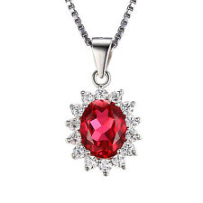 JewelryPalace 3.2ct Diana William Pendant Red Ruby Pendant 925 Sterling Silver