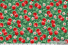 1YD Cherry Green Red OLD NEW COLLECTION 1930s Reproduction LECIEN Fabric Japan