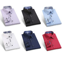 Luxury Silk Cotton Men's Shirts Casual Slim Fit Formal Shirt Top Italian Design