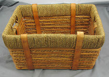 Decorative Woven Grass + Bamboo Basket w/ grass rope rim