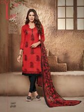 DESIGNER CHURIDAR SALWAR KAMEEZ SUIT COTTON DRESS MATERIAL FREE SHIPPING AKIRA07