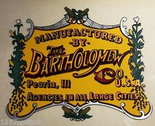 The Bartholomew Co. Peoria Ill Logo Decal For a Vintage Popcorn Nut Machine cart