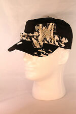 Ladies Cadet Style Cap Hat with Zebra Design and Rhinestone Cross  BLING BLING
