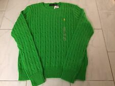 NWT POLO RALPH LAUREN LADIES GREEN CABLE KNIT CREW NECK SWEATER XL PONY $98