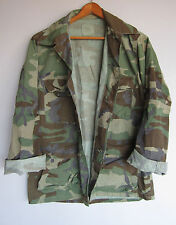 Mens Vintage Army Camo Jacket Shirt Woodland Camouflage Faded Distressed Medium