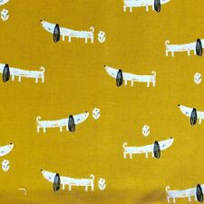 CUSHION COVER COTTON FABRIC GEOMETRIC OCHRE YELLOW MUSTARD GOLD SAUSAGE DOGS ((