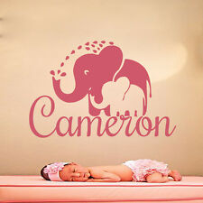 Elephant Wall Art Name Decals Vinyl Stickers Nursery Bedroom Home Decor MN639