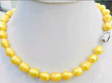 """NEW 10-11MM YELLOW GOLDEN NATURAL TAHITIAN PEARL NECKLACE 18""""AAA YU4-999"""