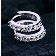 Noble Wild Gemstones Crystal Silver Hoop Elegant Earrings Wedding Jewelry FT88