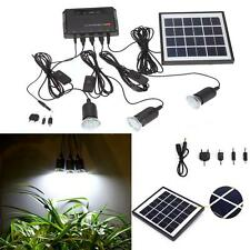 4W Bright Solar Light Kit Outdoor LED 3-Lamp USB 5V Cell Mobile Phone Charger