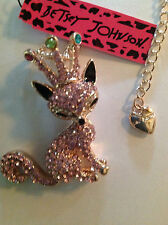 """PRETTY PINK CRYSTAL FOX/CROWN 28"""" Pendant  Necklace Betsey Johnson"""