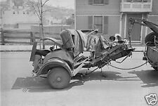 1922 Accident Photo of a totaled car Hooked to Tow Truck  5 x 7 Photograph