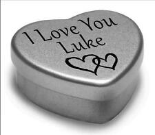I Love You Luke Mini Heart Tin Gift For I Heart Luke With Chocolates or Mints