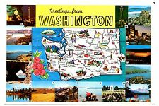Washington Map Vintage Postcard Space Needle Grand Coulee Dam Cape Flattery Mtn