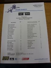 03/01/2009 Colour Teamsheet: Millwall v Crewe Alexandra . Thanks for viewing thi