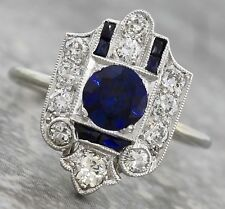 Ladies Antique Art Deco 1920s Estate 18K White Gold Blue Sapphire Diamond Ring