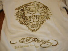 ED HARDY IVORY CREAM LEATHER STITCH ACCENT TIGER PATCHWORK ZIPPERED SWEATSHIRT S