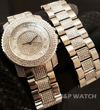 Iced Out Bling White Gold PT Simulated Diamond Hip Hop WATCH & BRACELET Gift Set