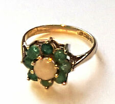 Vintage 9ct Gold Emerald & Opal Ring