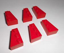Lego (6565/6564) 6 Keilsteine 2x3x1 (3x rechts + 3x links), in rot aus 4955 5591
