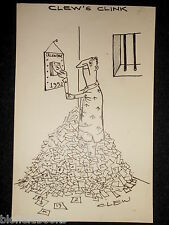 "CLIFFORD C LEWIS ""CLEW"" Original Pen & Ink Cartoon - Jail/Prisoner Calendar #470"