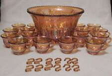 Vintage Indiana Iridescent Gold Carnival Glass Grape Punch Bowl & 16 Cup Set