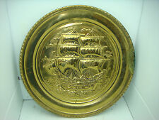 SOILID BRASS HANGING DECORATIVE PLATTER IMAGE OF PIRATE SHIP  MADE IN ENGLAND